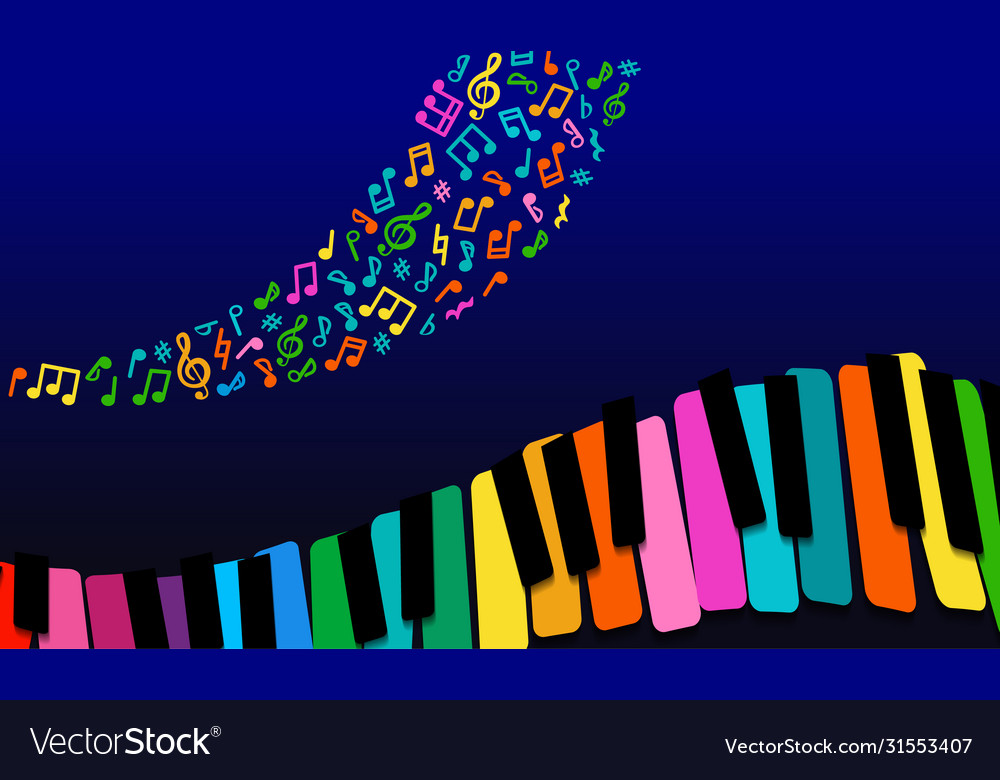Abstract music background rainbow paper piano