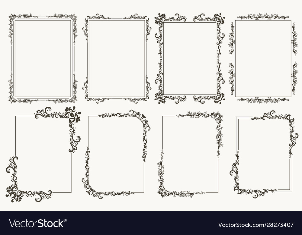 Calligraphic frame set borders corners ornate