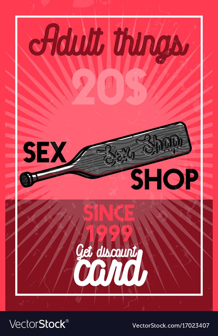 Color vintage sex shop banner