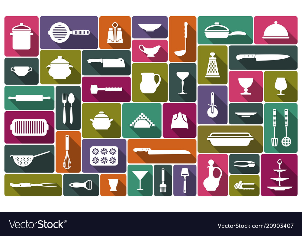 Cooking icons in flat style