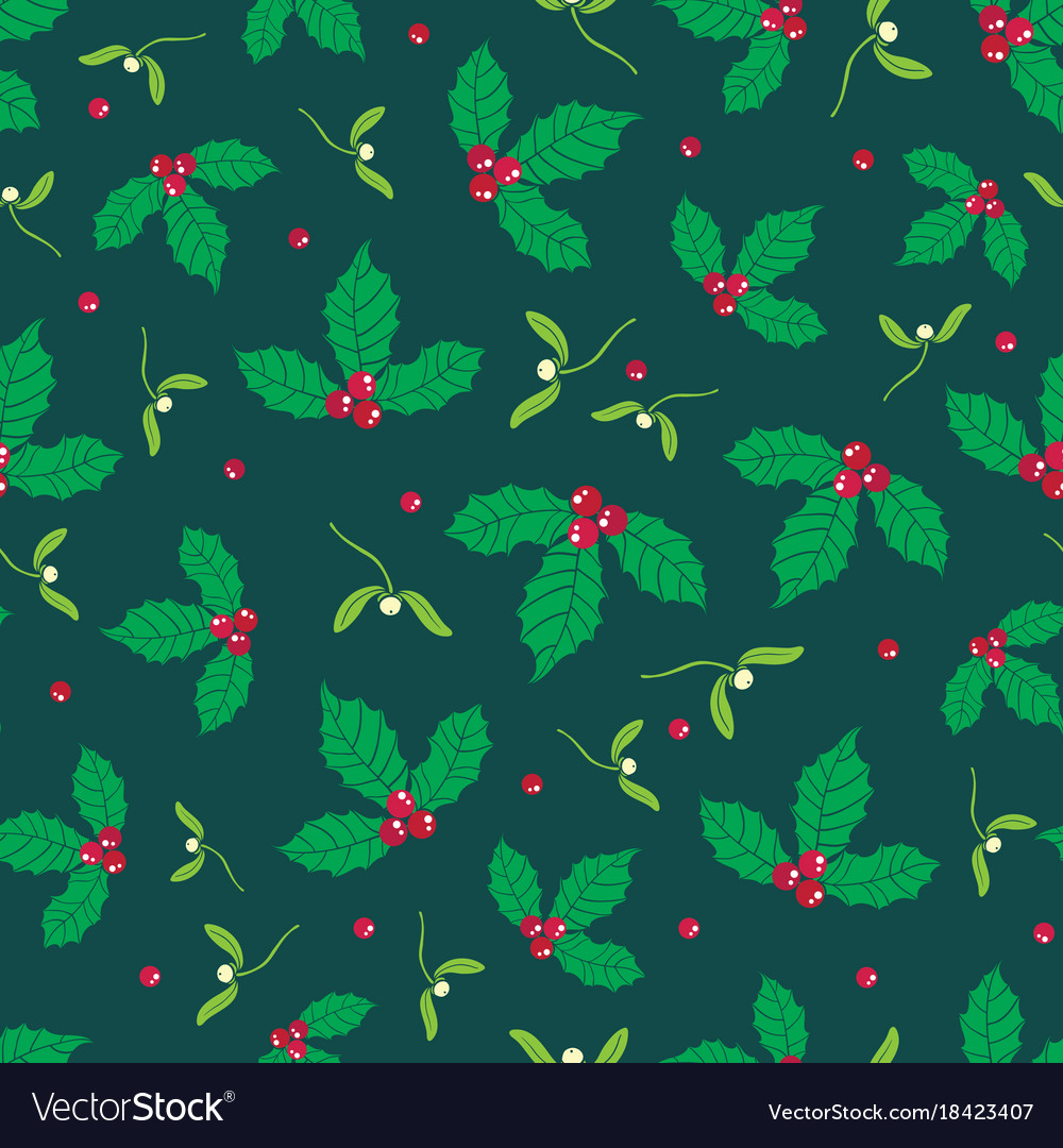 Dark green red holly berry and mistletoe