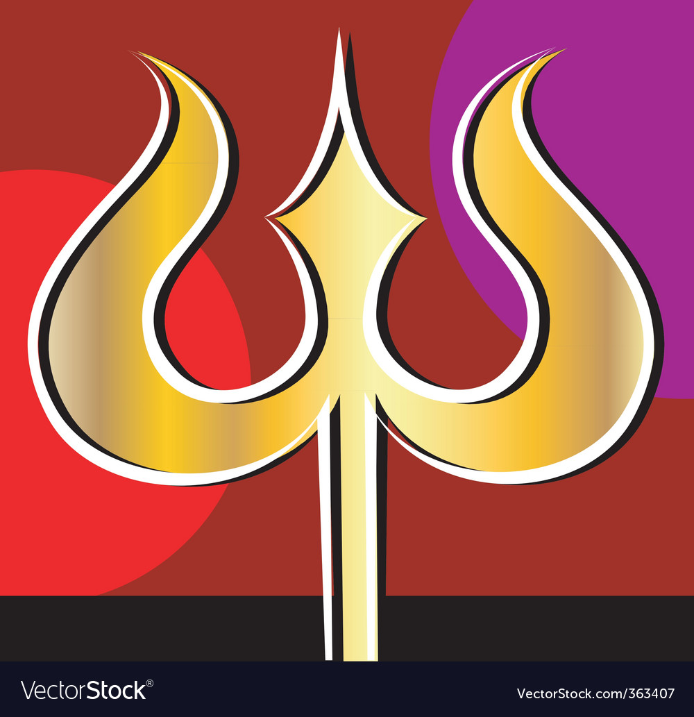 Golden trishul vector image
