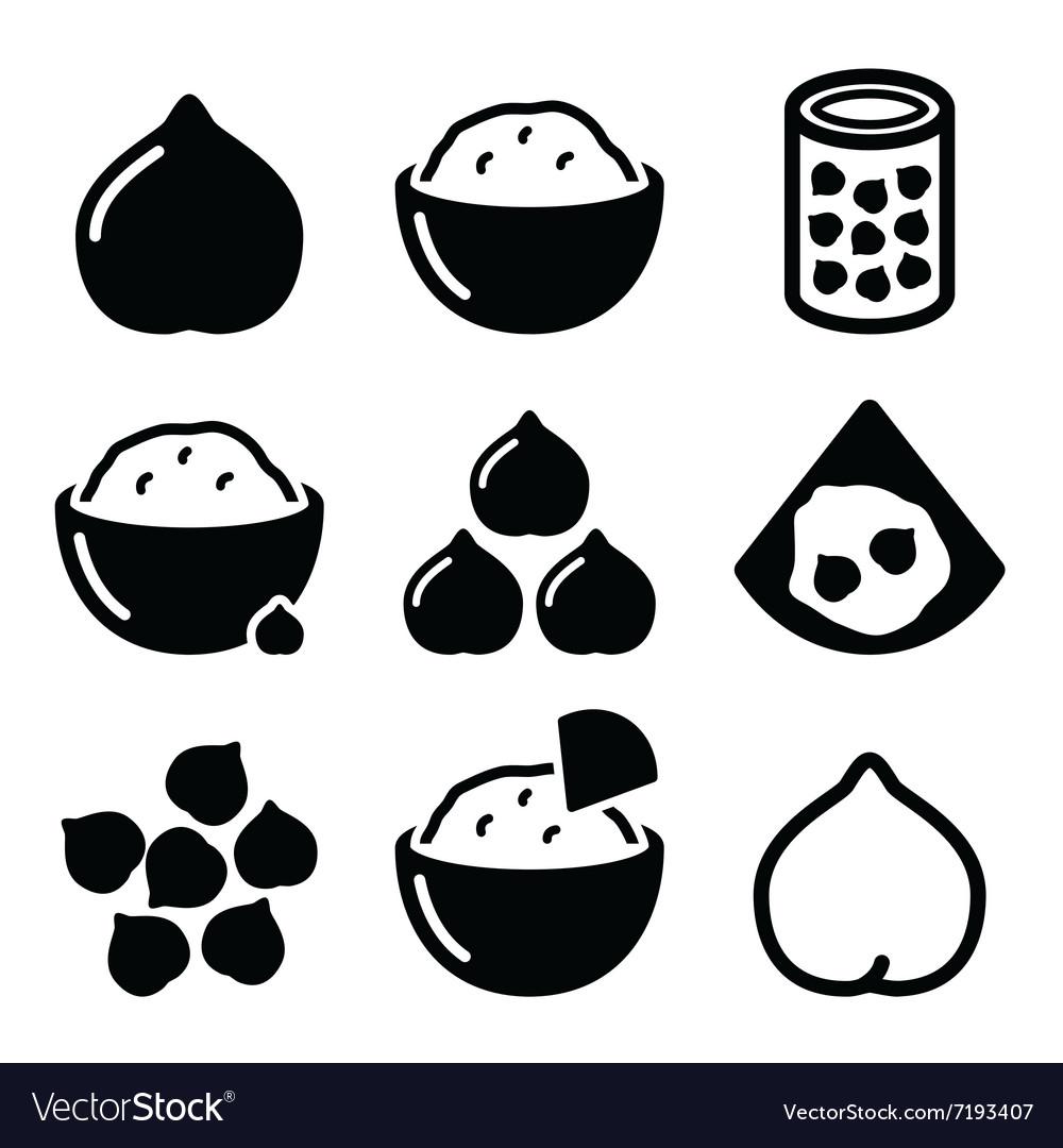 Hummus or houmous chickpeas icons set