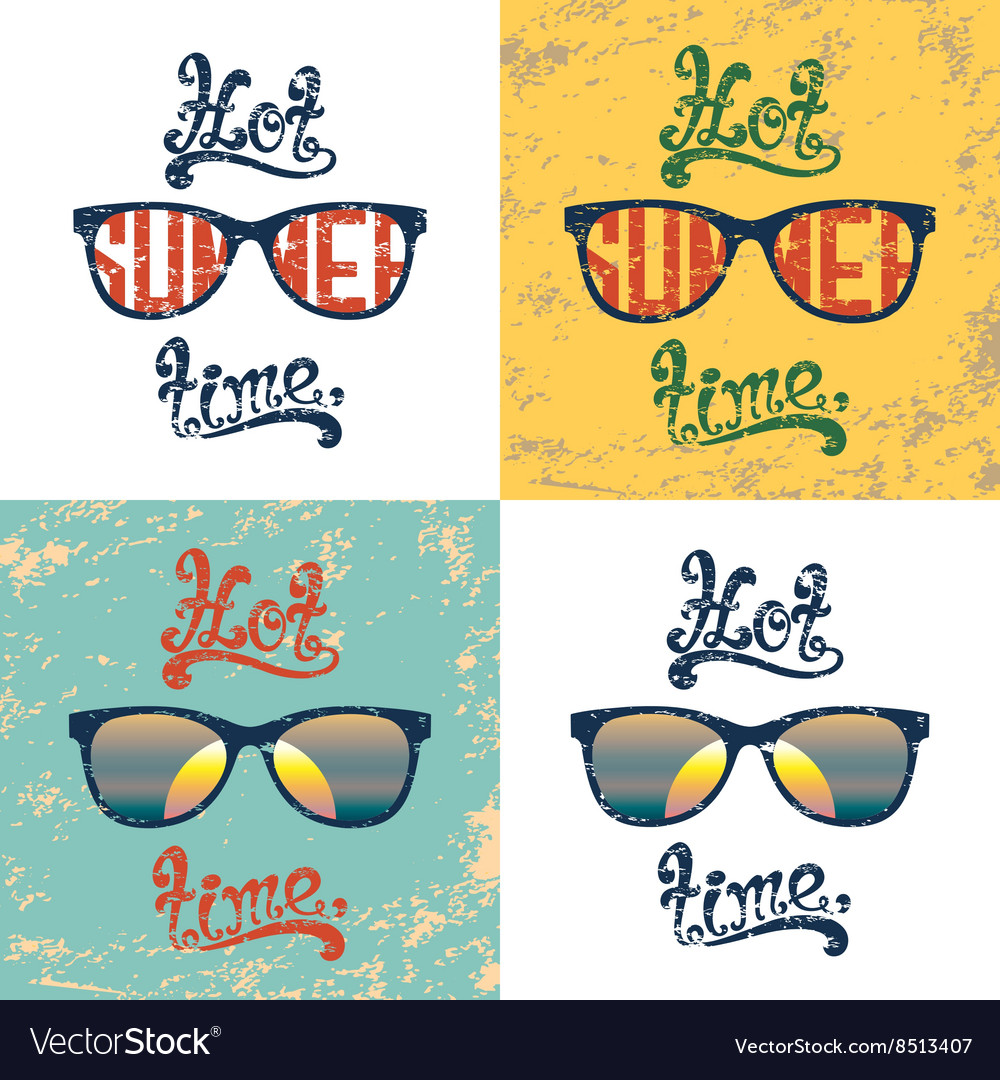 Set of four calligraphic summer backgrounds