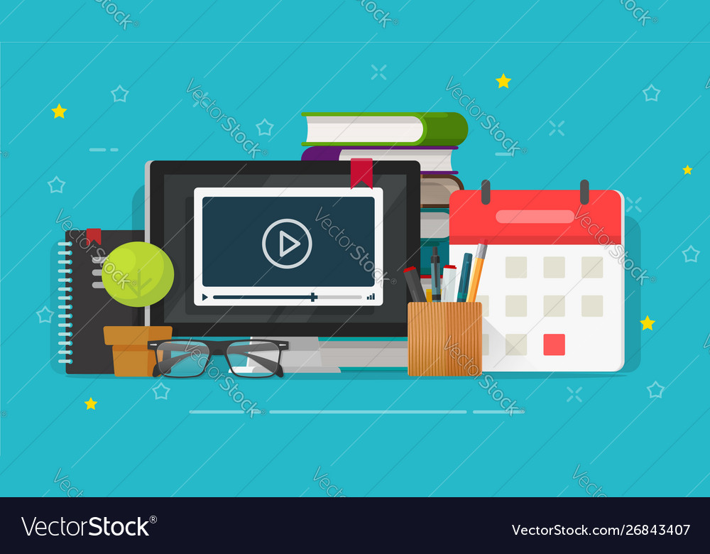Webinar learning or video watching on computer
