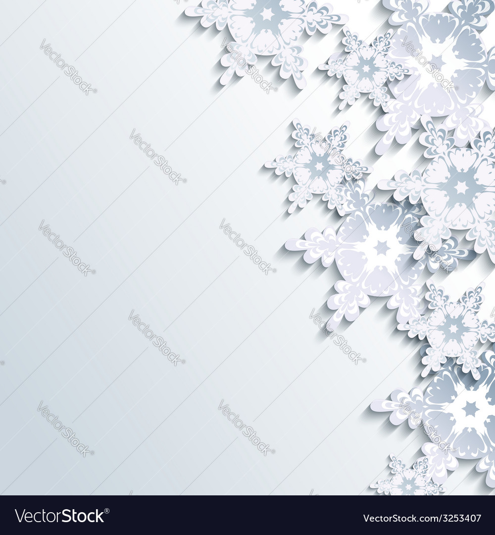 Winter gray background abstract 3d snowflake