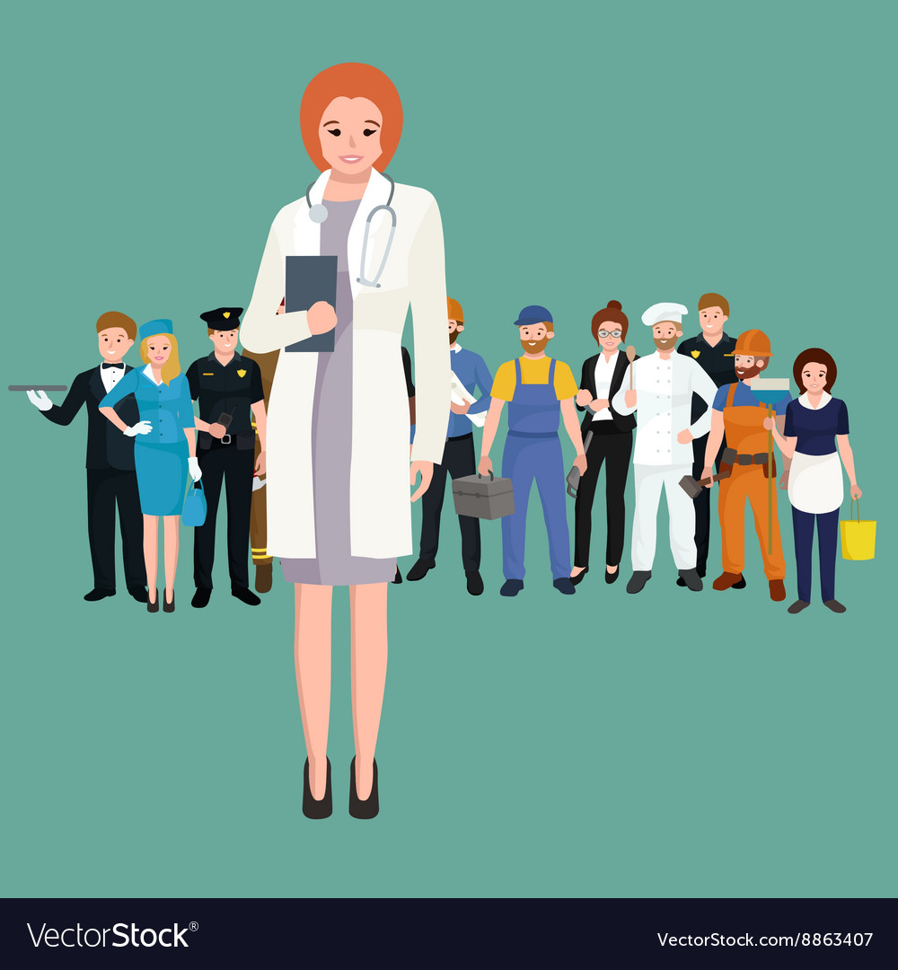 Woman doctor in white lab coat researcher with vector image