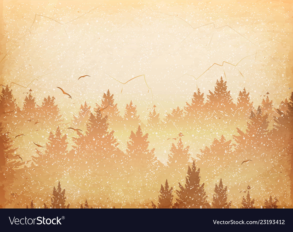 Abstract background of forest and mountains with