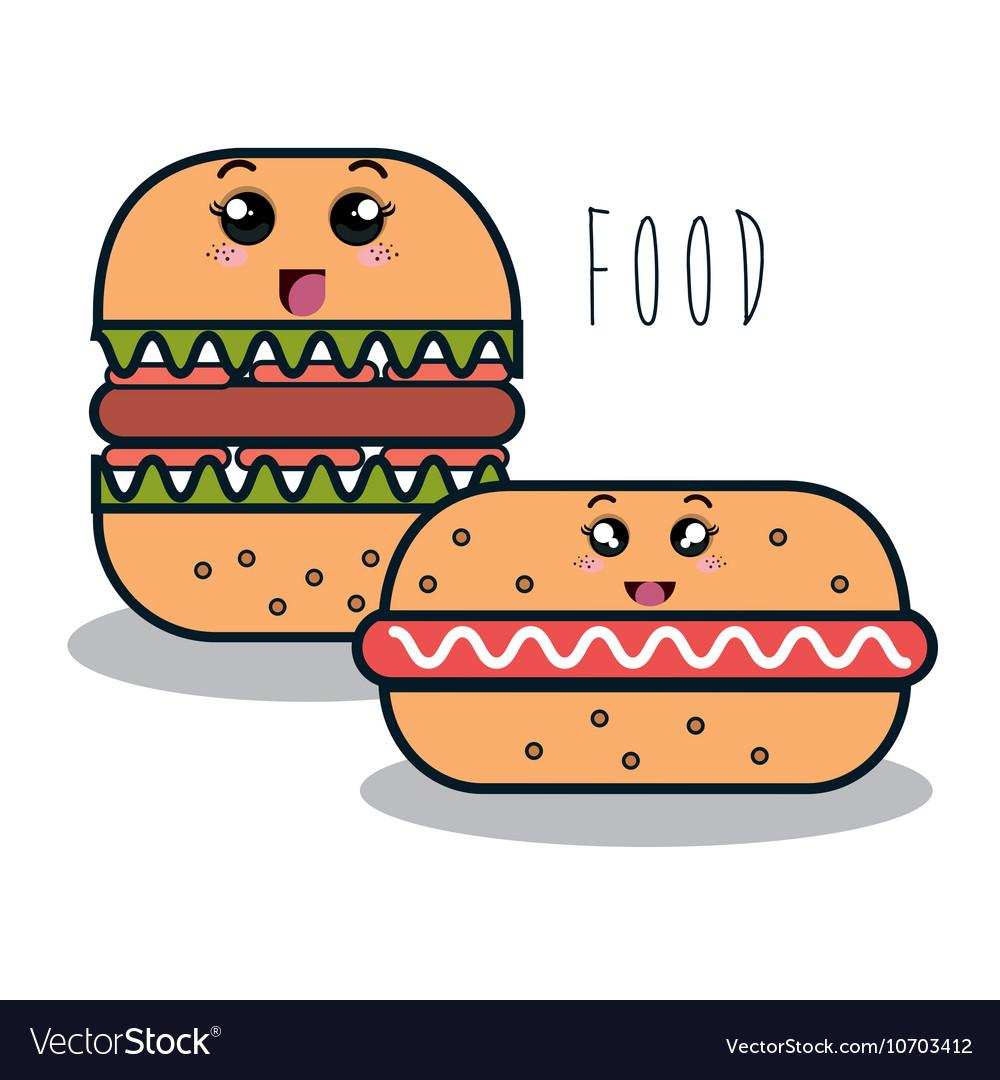Cartoon burger with facial expression and hot dog
