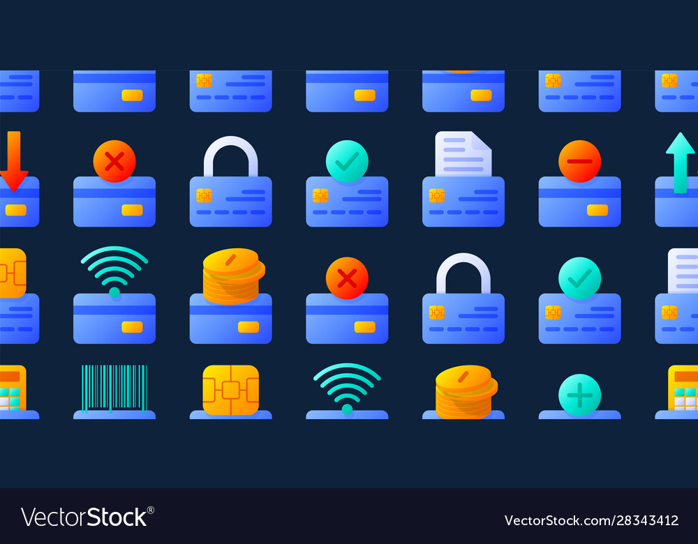 Credit cards seamless pattern with different