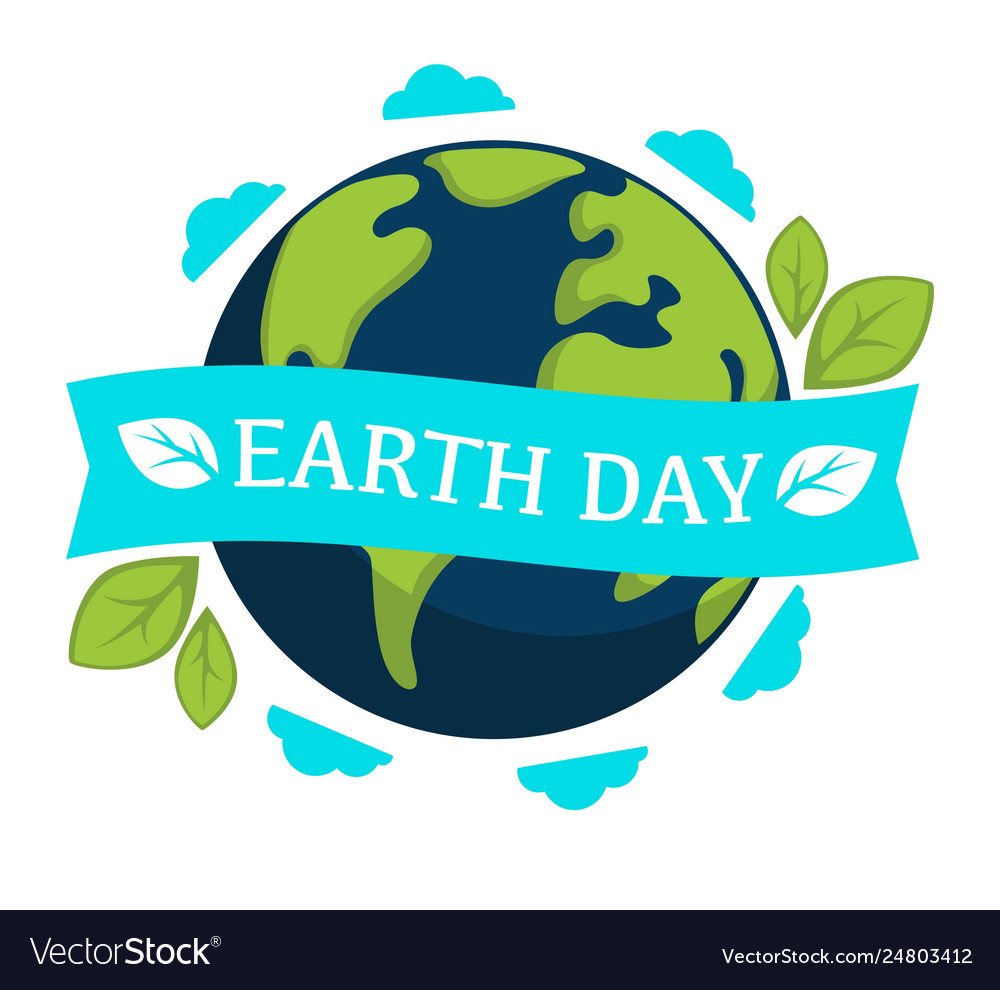 Earth day isolated icon planet and plant leaves