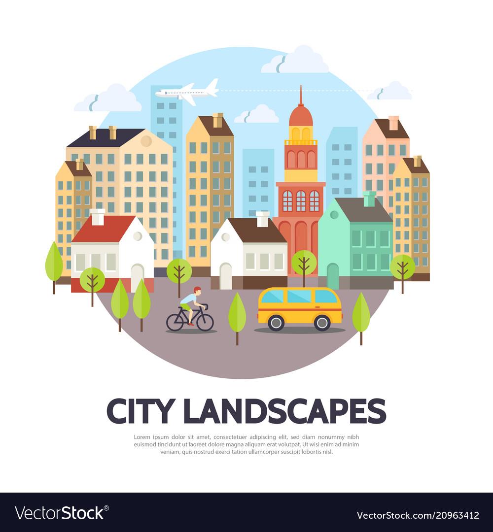 Flat cityscape concept
