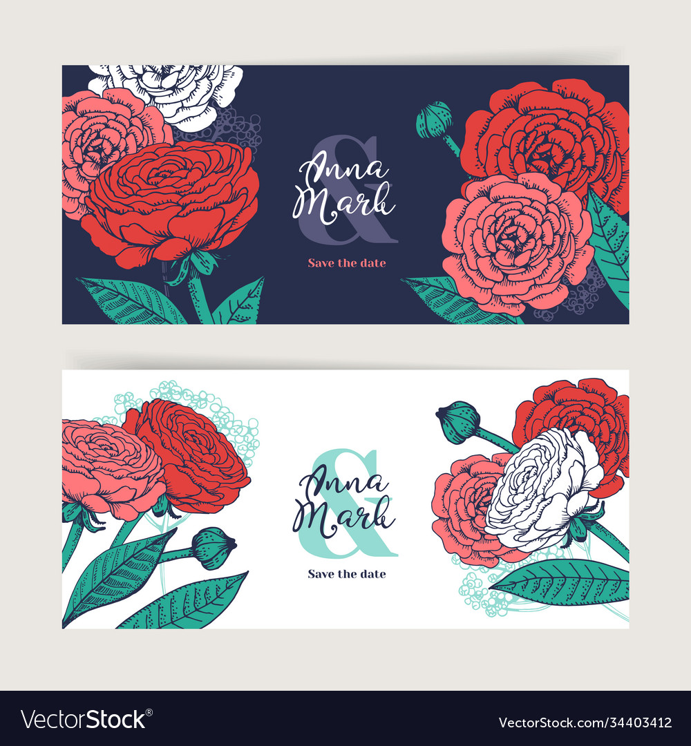 Hand drawn floral wedding invitation card set vector