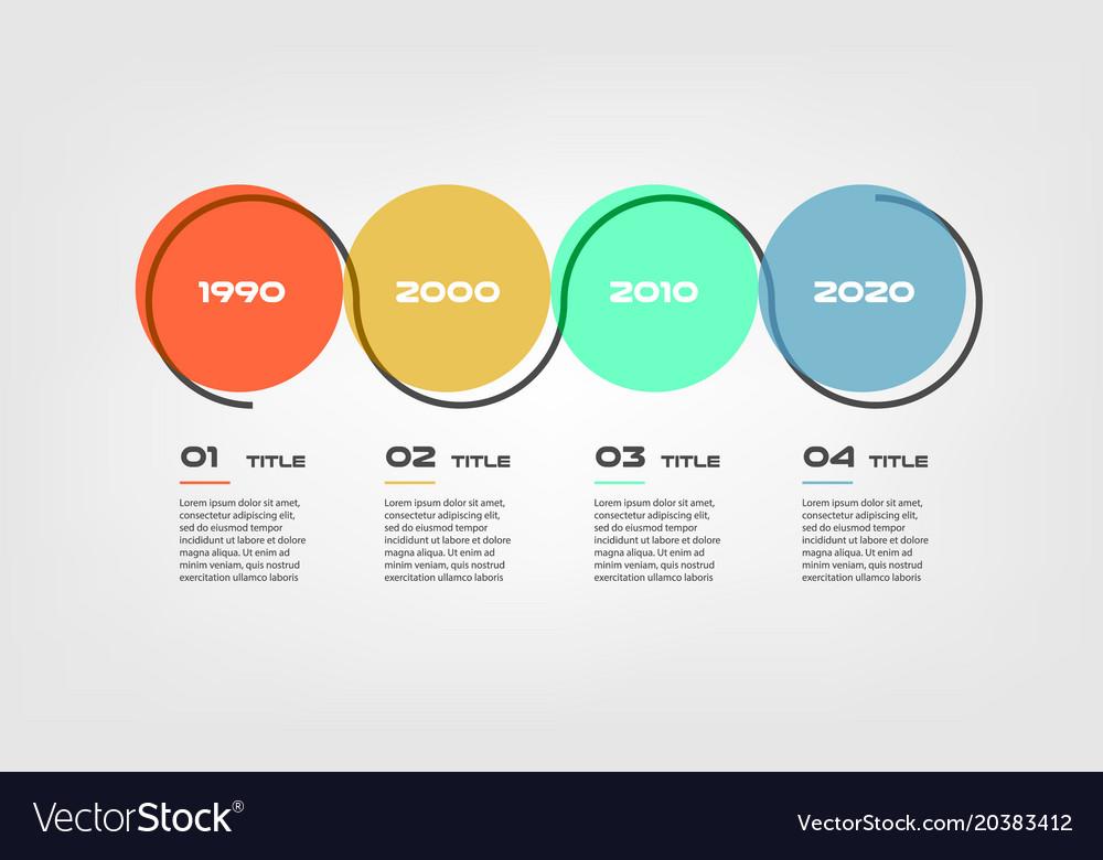Horizontal cartoon timeline steps infographics