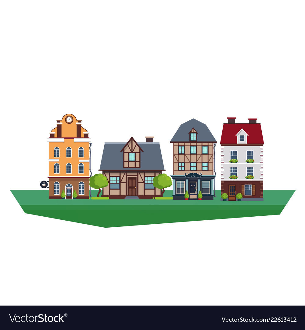 Old vintage country and city houses