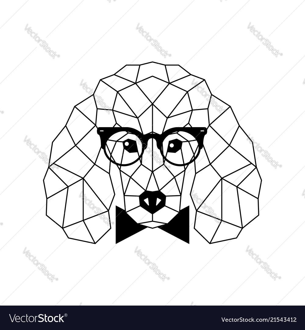 Polygonal poodle dog in fashion glasses