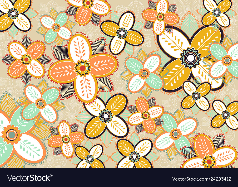 Seamless flowers pattern template
