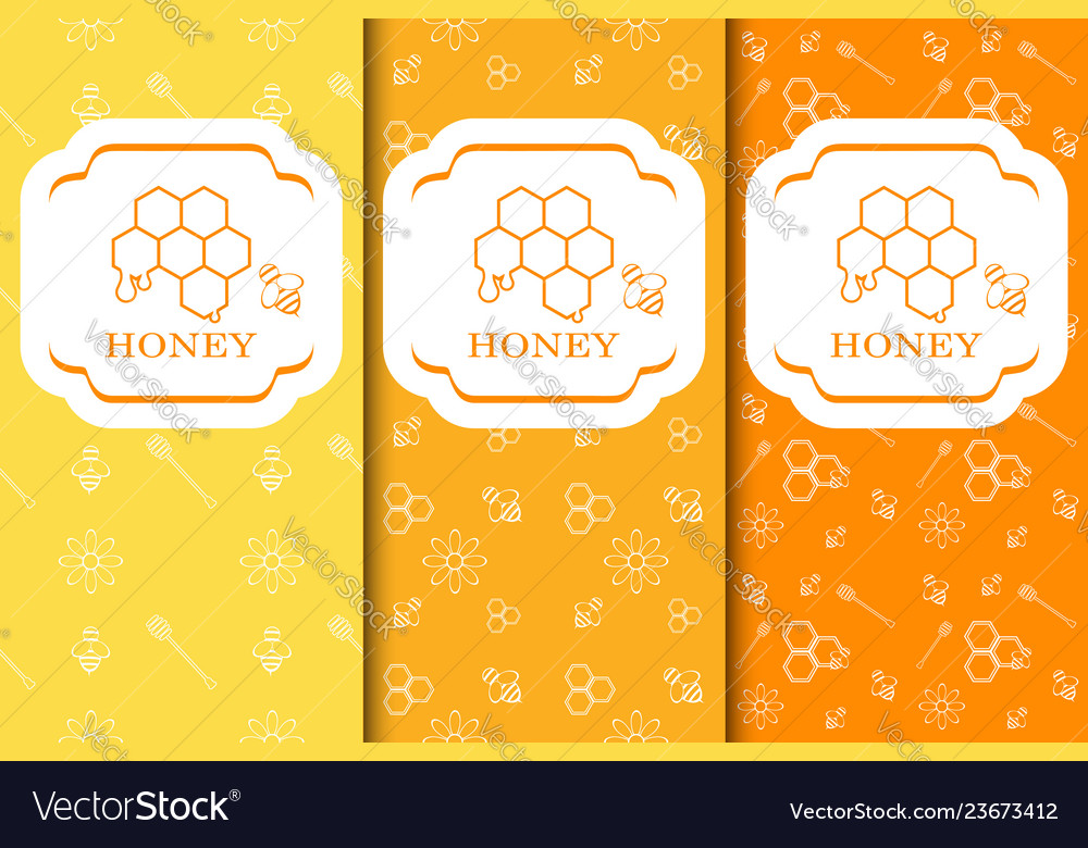 Seamless pattern with honey bee and flowers