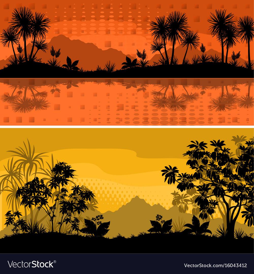 Set landscapes palms and plants