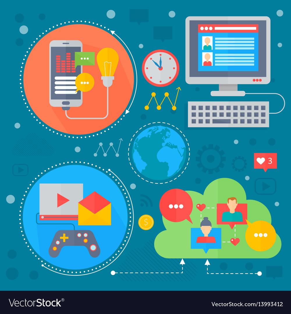 Social network and social media flat concept