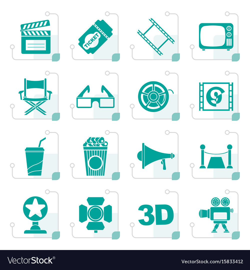 Stylized cinema and movie icons vector image