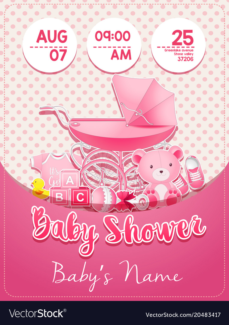 Baby Shower Girl Invitation Template With Toys