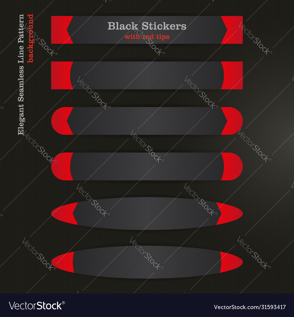Black banner sticker with red left and right tips