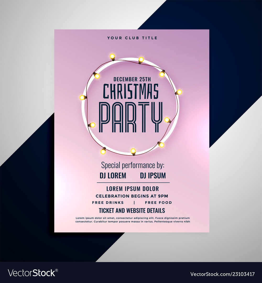 clean merry christmas party flyer design vector image