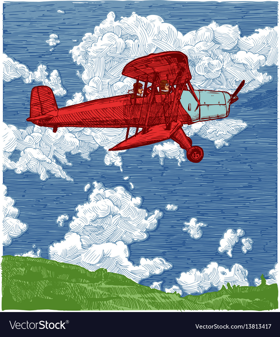 Color drawing of airplane stylized as engraving