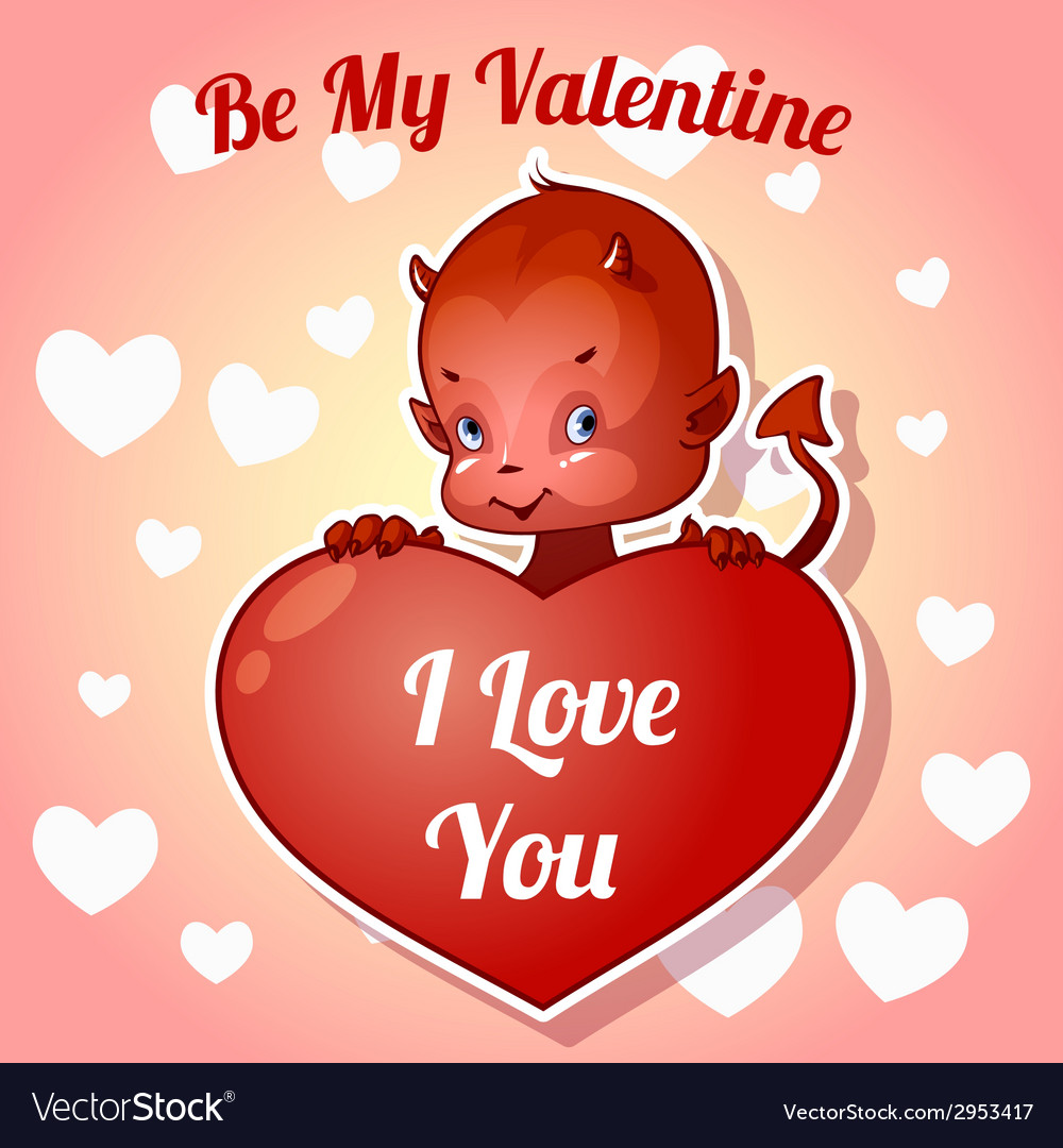 Cute little devil for Valentines Day vector image