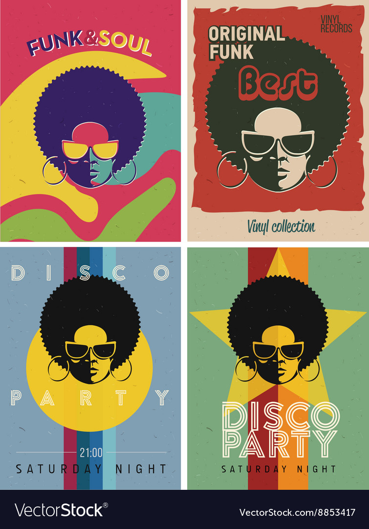 Disco party event flyers set Collection of the vector image