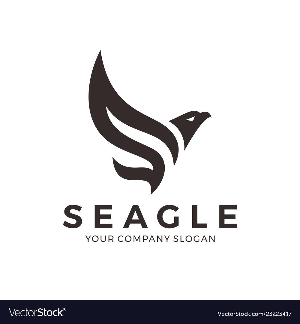 Eagle falcon bird logo design with letter s