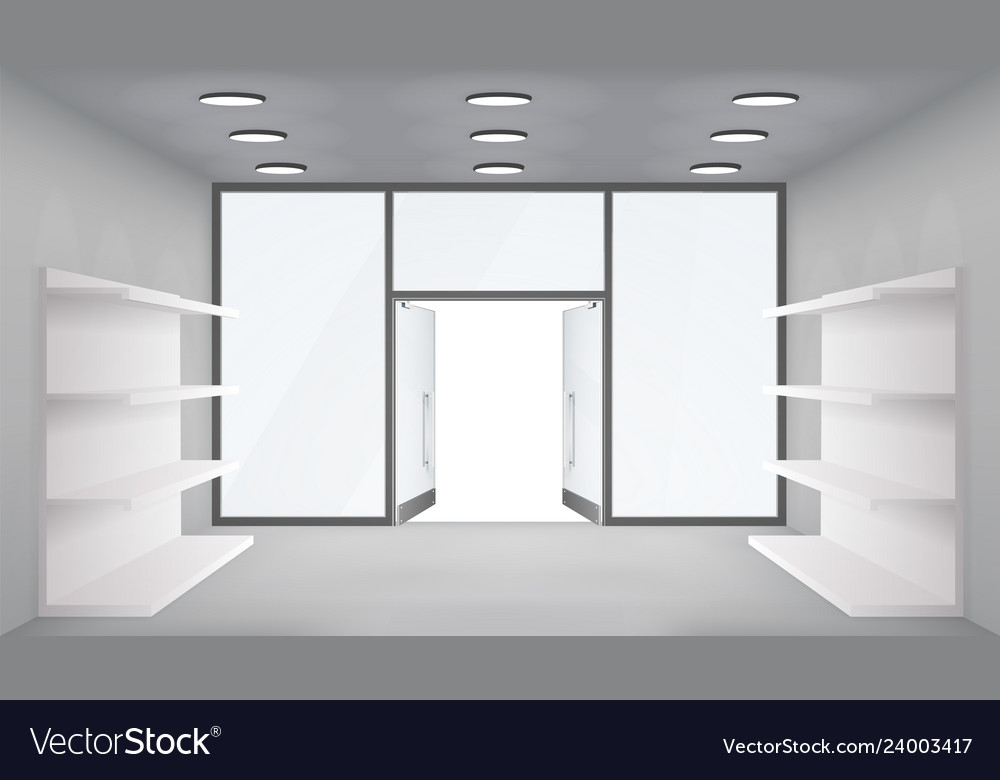 Empty trade shelves store interior open doors 3d