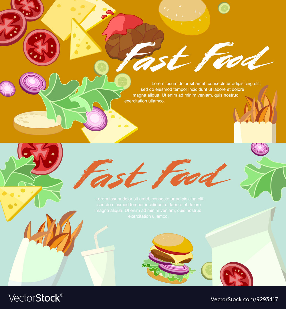 Fast food concept banner flat style