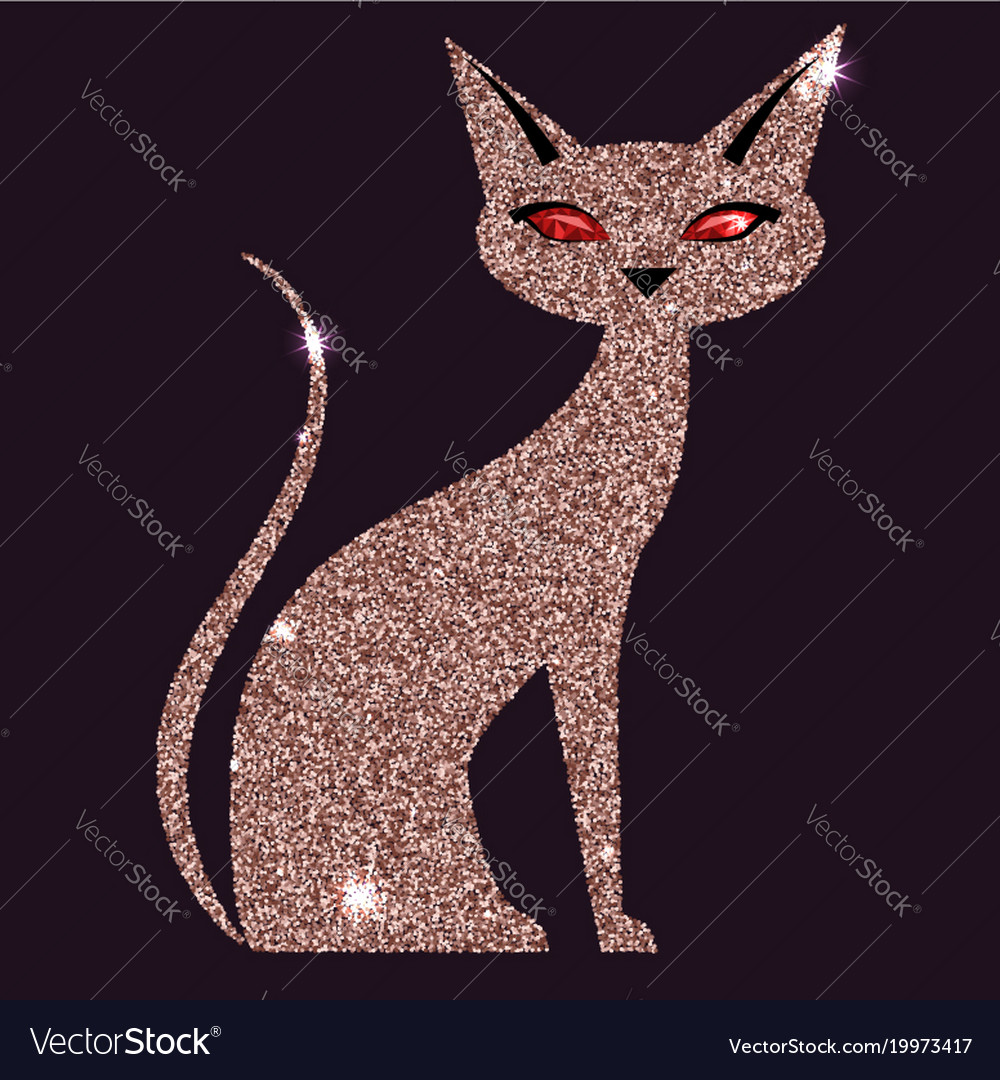 Gold rose cat with red eyes