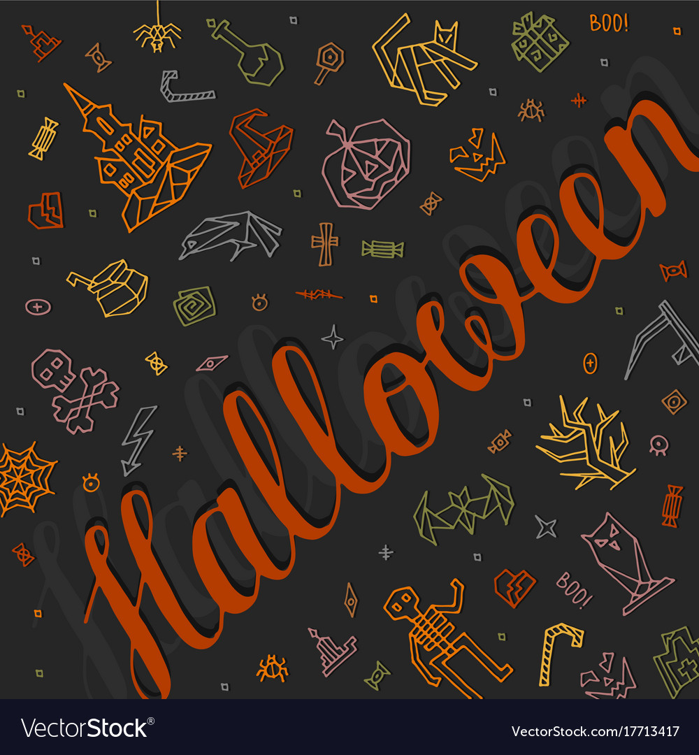 Greeting card happy halloween with lettering