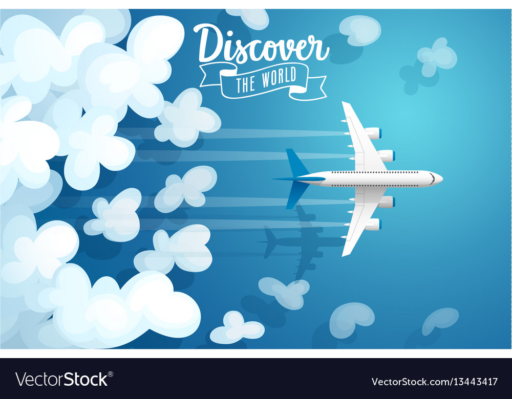 Passenger plane flying above clouds travel poster