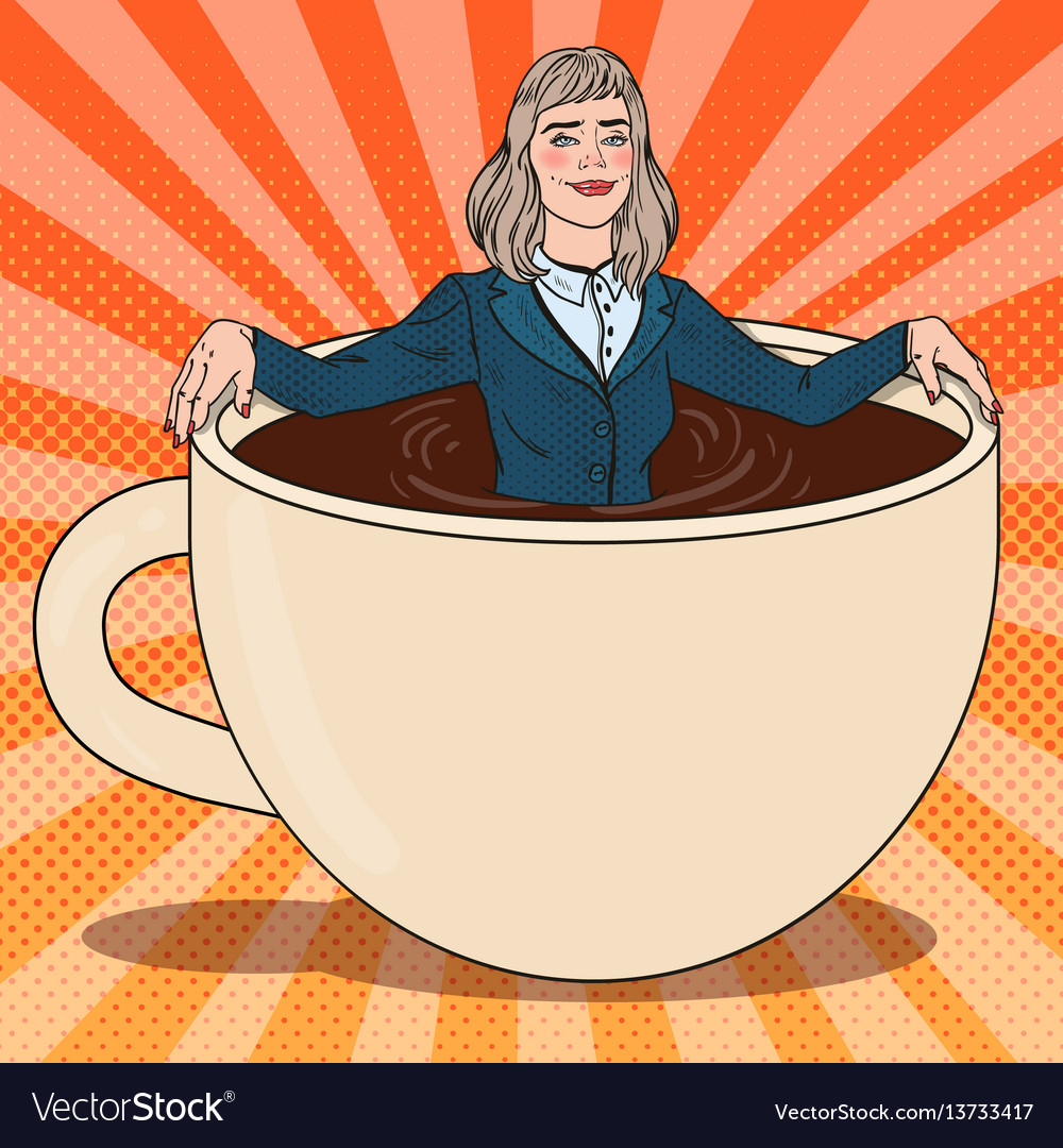 Pop art business woman relaxing in coffee cup