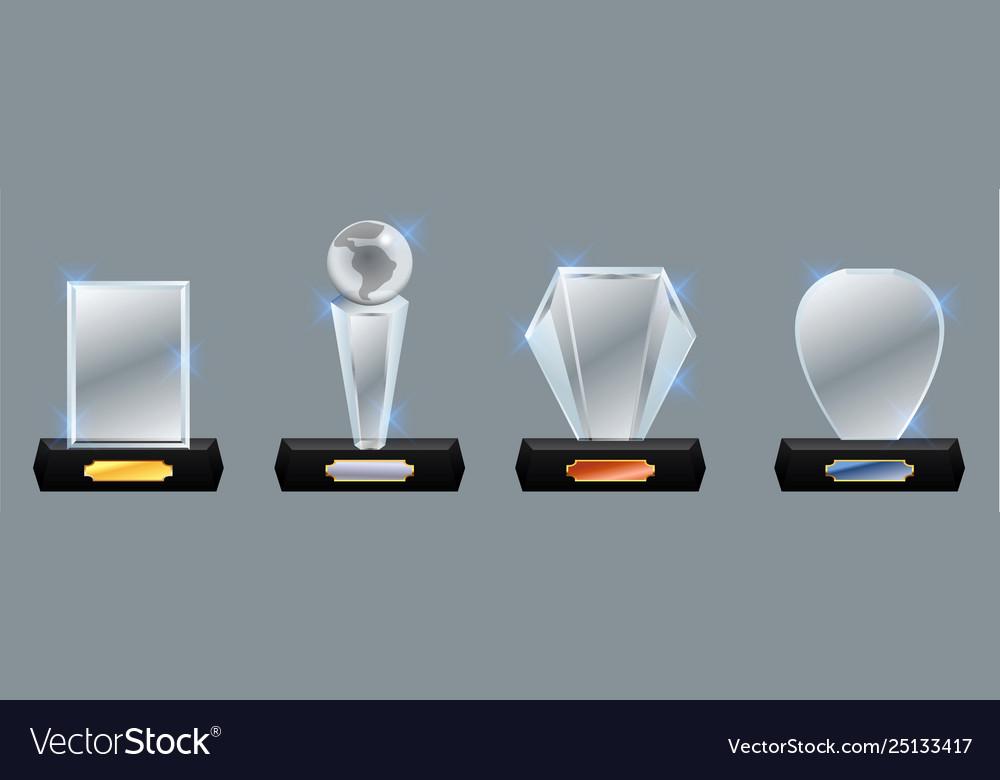 Set glass trophy award award