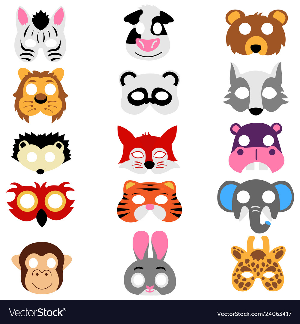 Set of animals masks isolated