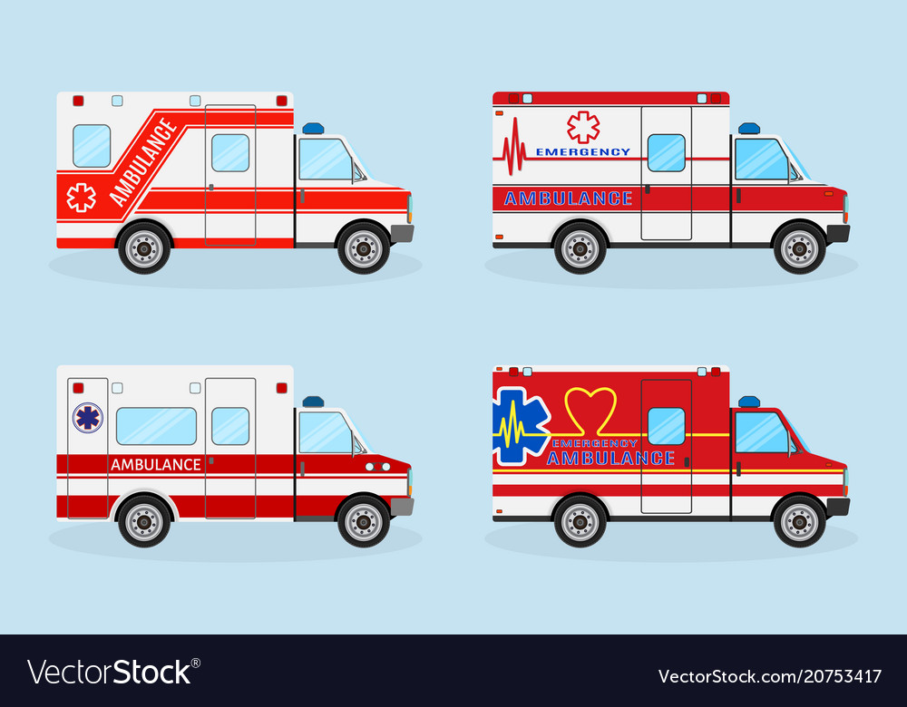 Set of four emergency ambulance cars with red