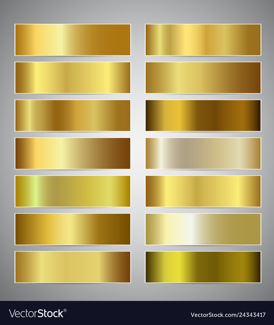 Set of gold gradient banners templates or website