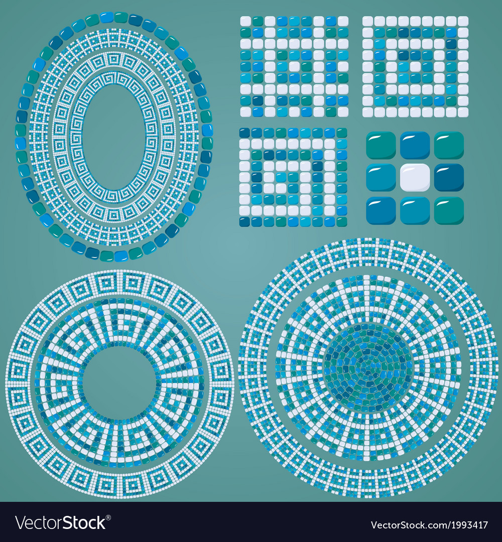 Set of Mosaic patterns - Blue ceramic oval and rou