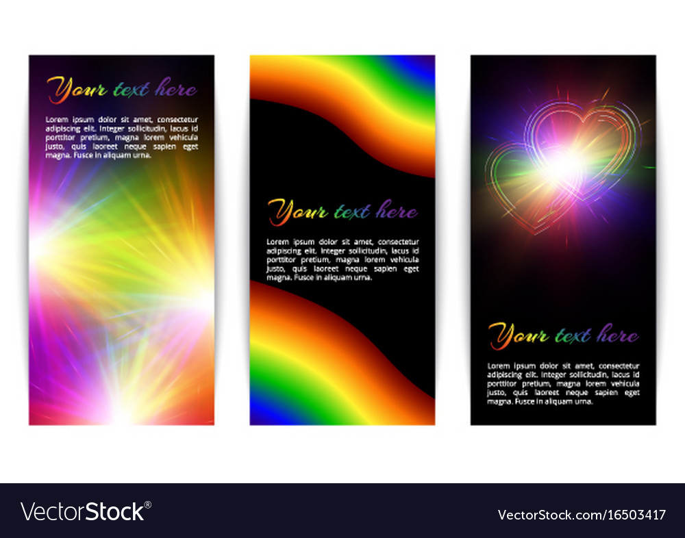 Vertical banners with bright hearts