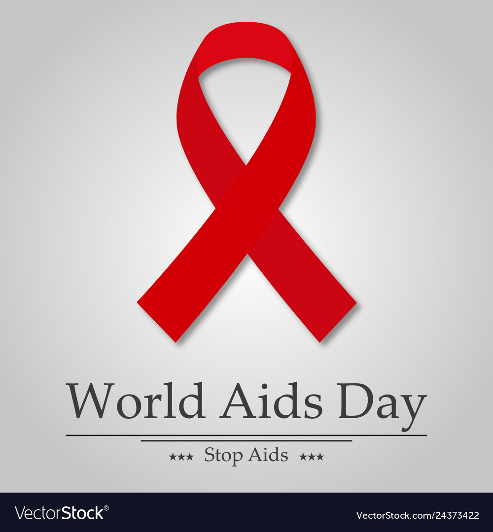 Aids day ribbon with shadow text