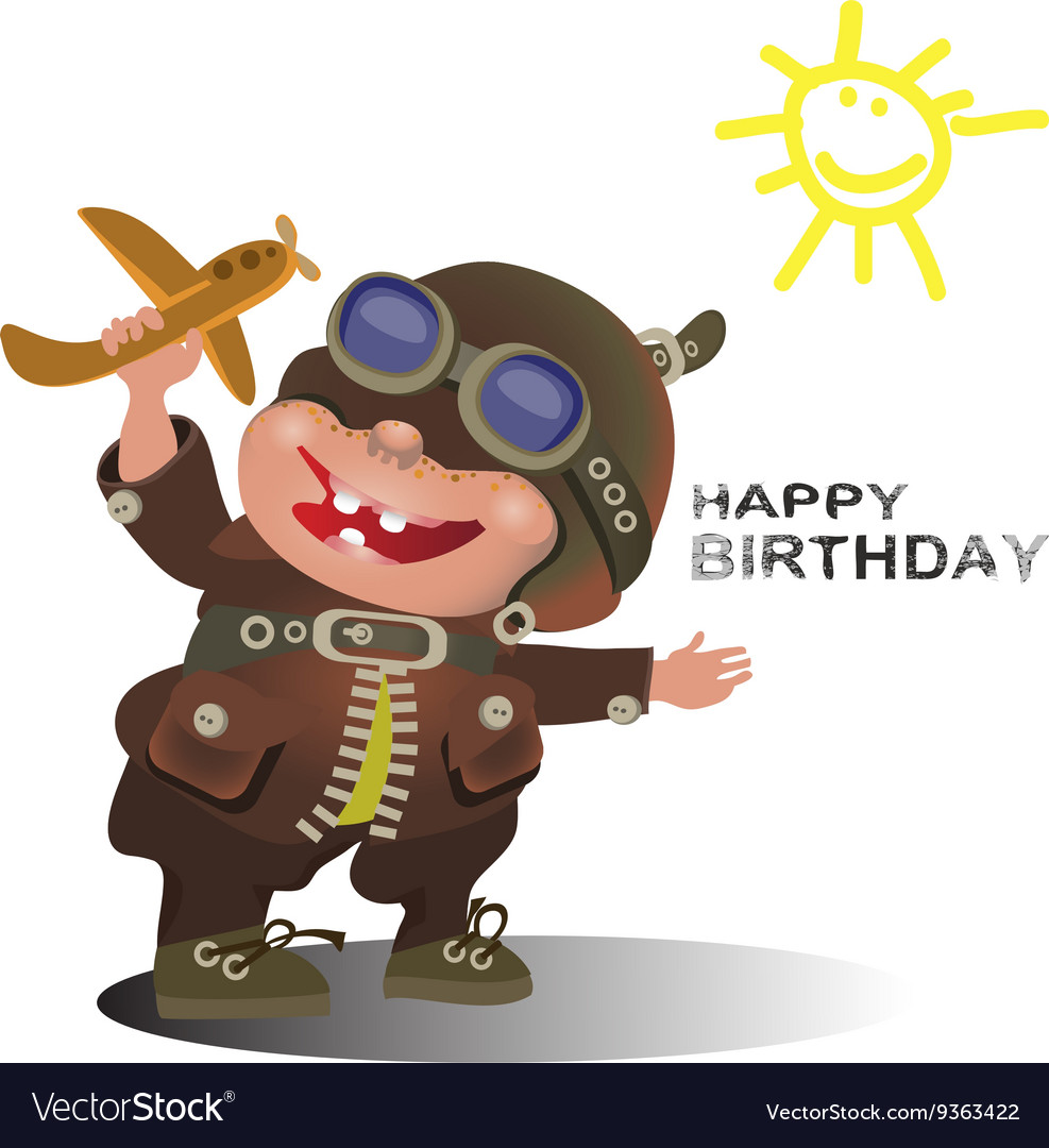 Birthday Greetings For The Pilot Royalty Free Vector Image