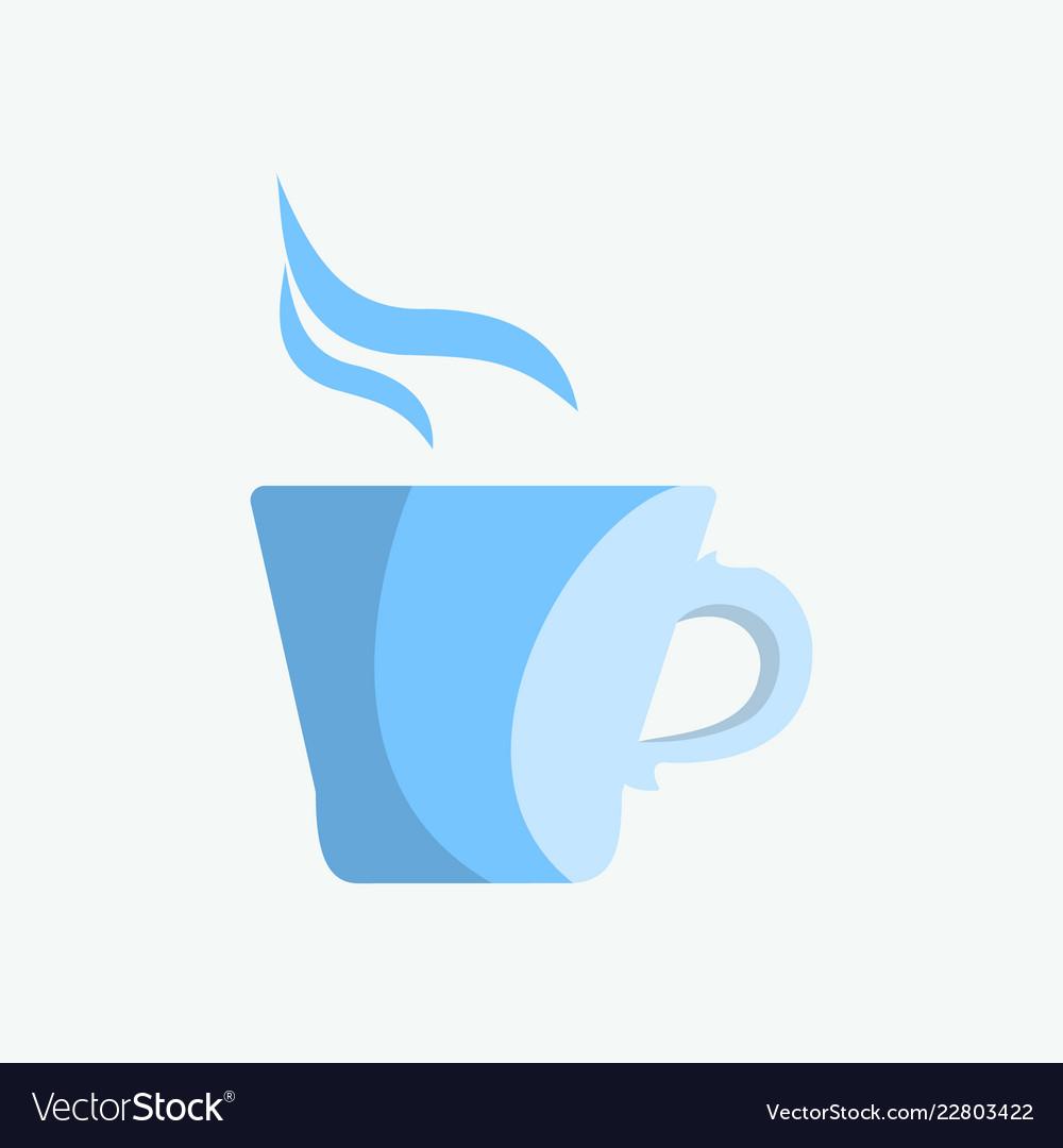 Blue mug of tea or coffee in the morning