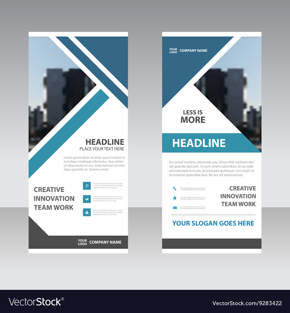 Blue triangle business roll up banner templates vector image flashek Choice Image