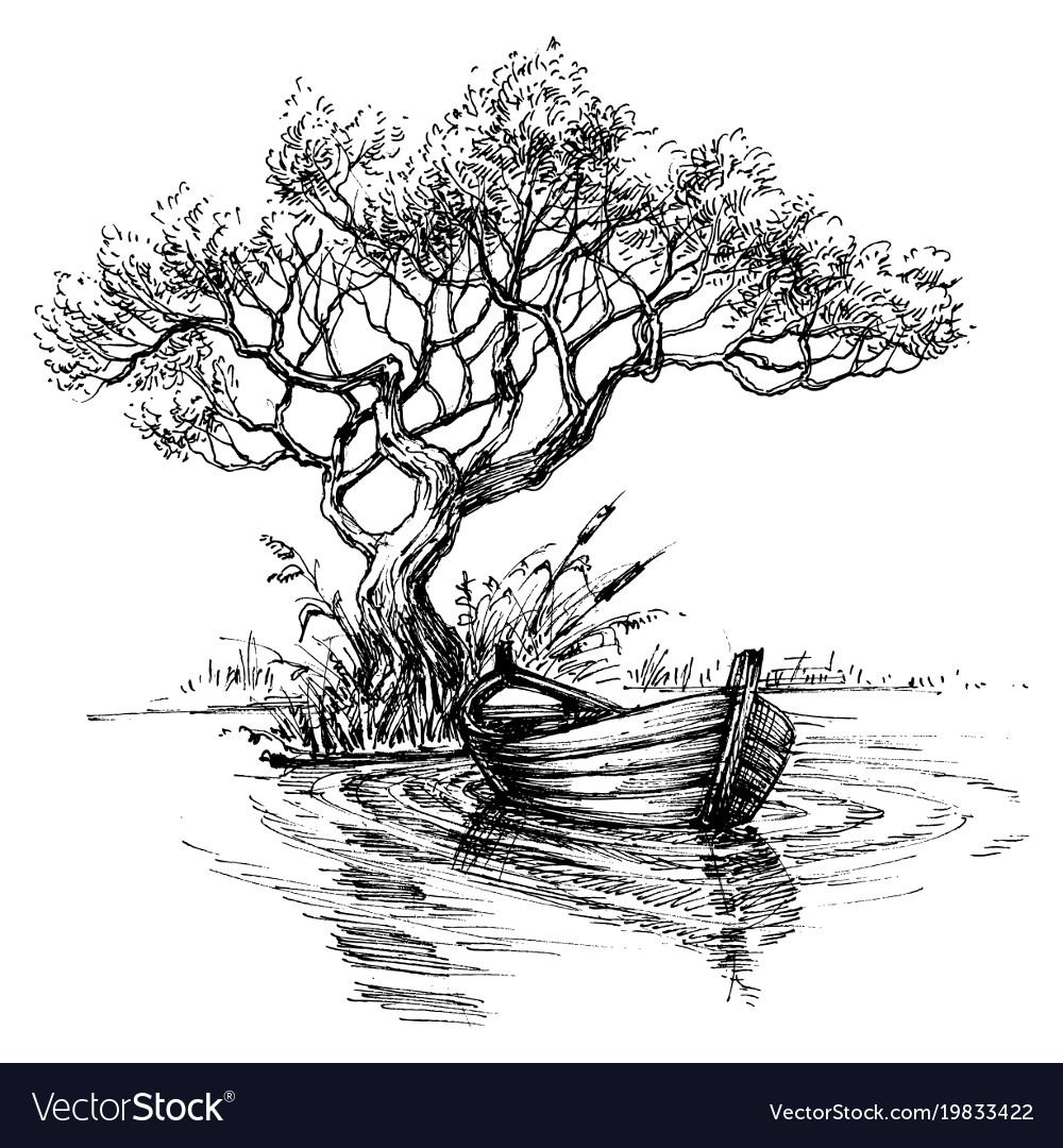 Boat On Water Under The Tree Sketch Wallpaper