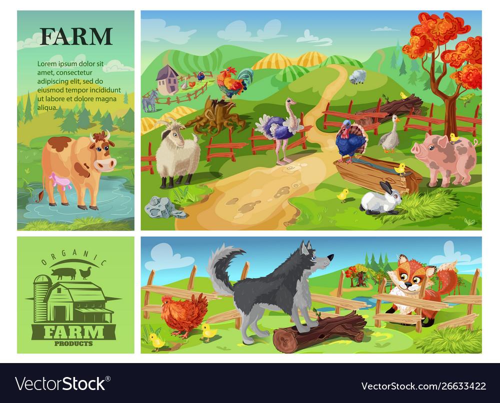 Cartoon farm animals composition